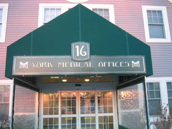 Leavitt & Parris stationary awning graphics created for entrance of York Medical Offices