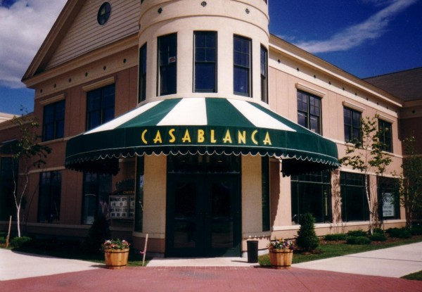 Custom stationary awning graphics for Casablanca