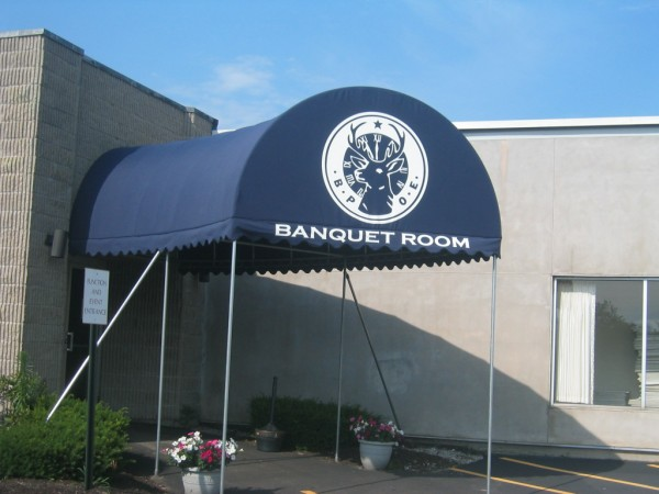 Custom stationary awning graphics from Leavitt & Parris