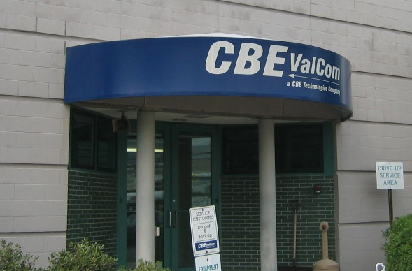 Custom awning graphics for CBE ValCom, from Leavitt & Parris