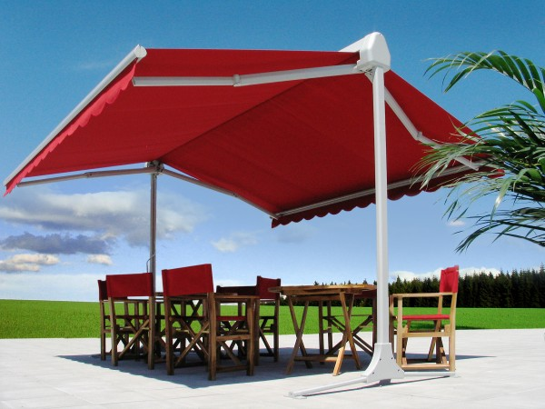 Red retractable awning for outdoor area from Leavitt & Parris