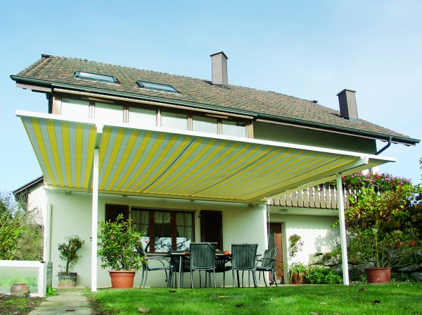 striped retractable awning from Leavitt & Parris