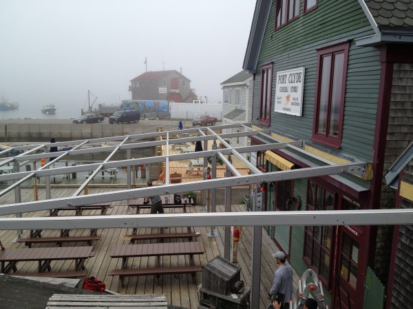 Setting up seasonal awning at the Port Clyde General Store in Maine