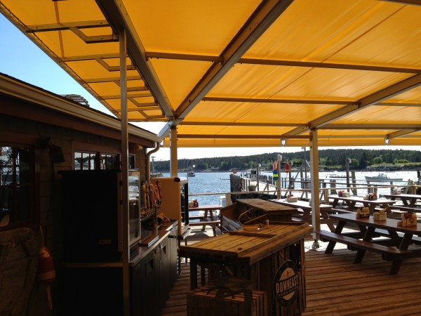 Leavitt & Parris large seasonal awning for eating space on the water in Maine