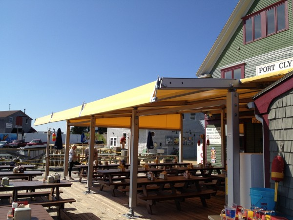 Large seasonal awning by Leavitt & Parris, for outdoor restaurant in Port Clyde, Maine