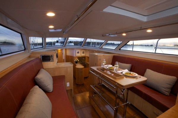 Interior of boat with custom marine cushions from Leavitt & Parris