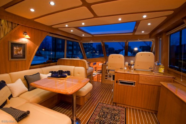 Boat interior with custom made marine cushions from Leavitt & Parris