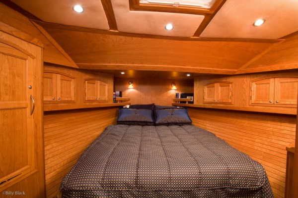 Boat stateroom with custom made marine fabric products from Leavitt & Parris