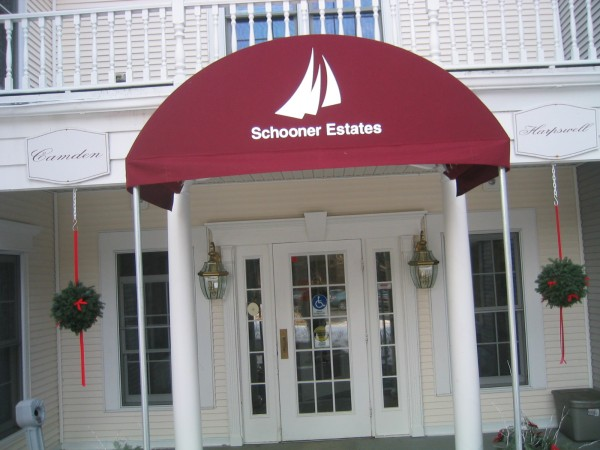 Leavitt & Parris stationary awning for Schooner Estates entrance