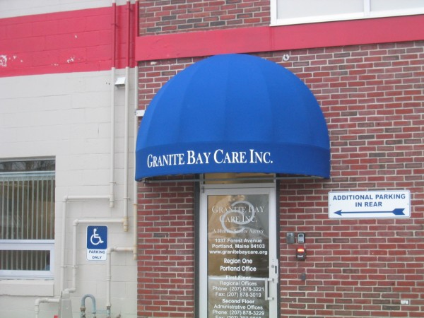 Leavitt & Parris stationary awning for Granite Bay Care Inc. entrance
