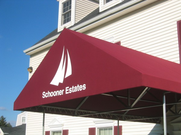 Stationary awning for Schooner Estates by Leavitt & Parris