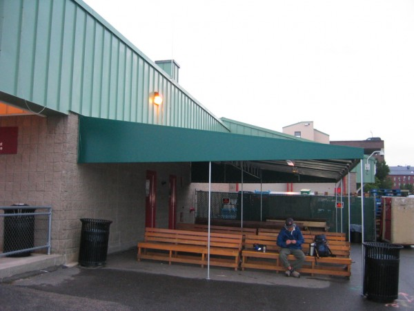 Leavitt & Parris awning for outside waiting area