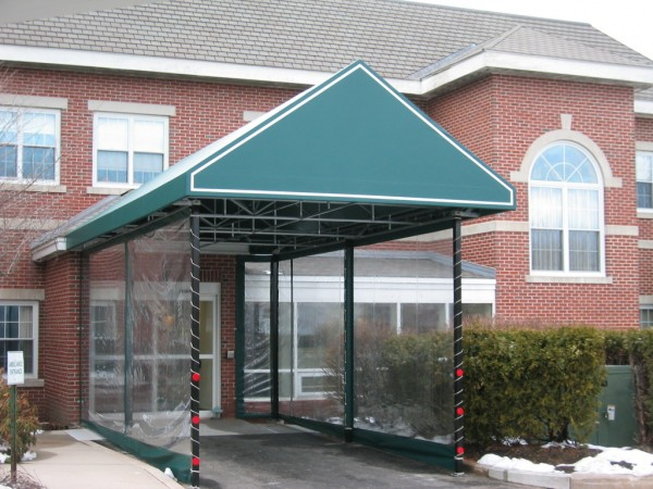 Stationary awning for building entranceway, by Leavitt & Parris