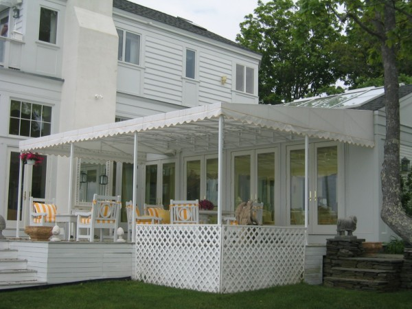 Leavitt & Parris custom stationary awning for deck covering