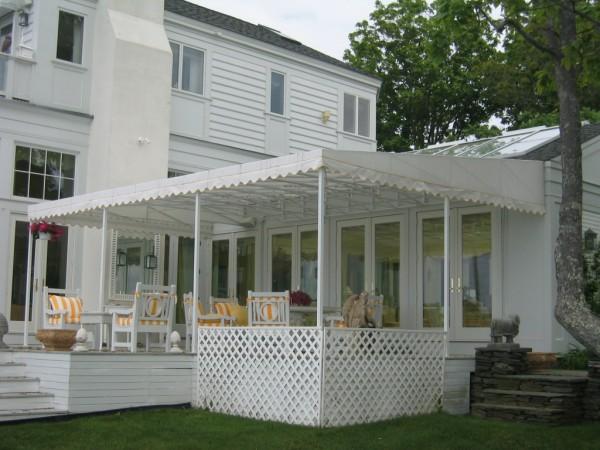 Leavitt & Parris custom stationary awning for deck covering