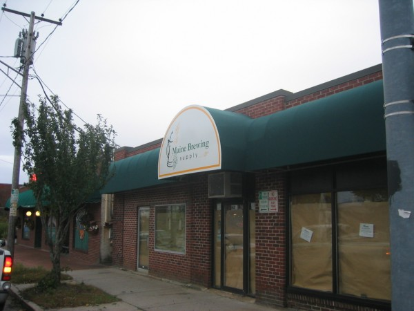 Leavitt & Parris stationary awning for Maine Brewing Supply entrance