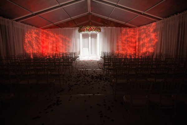 A dramatic tent set up for an October Maine wedding