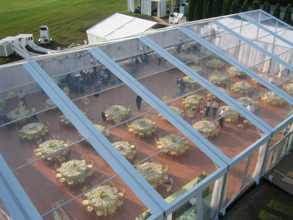Leavitt & Parris clear top structure for wedding, view from above