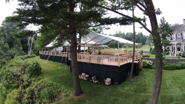 Leavitt & Parris custom event structures, set up for a Falmouth Foreside, Maine wedding