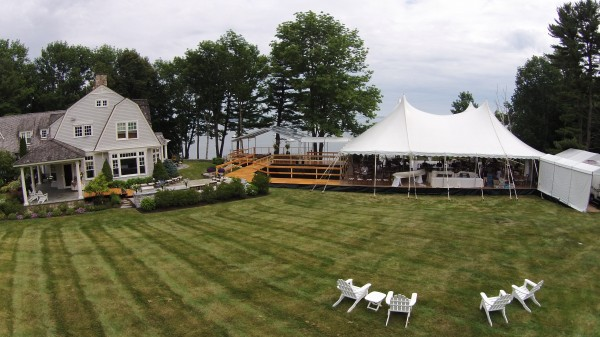 Tented structures set up by Leavitt & Parris for a Falmouth, Maine wedding