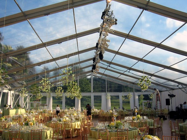 Clear top structure from Leavitt & Parris for summer tent wedding for 400 guests