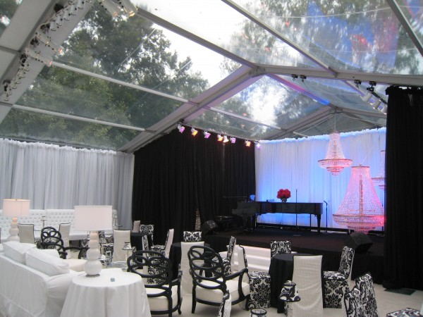 Stage setup and decor details for party, by Leavitt & Parris
