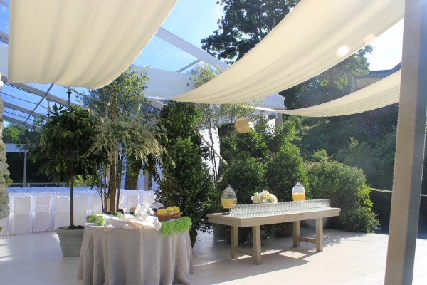 custom wedding structures from Leavitt & Parris, post ceremony drink area for Greenwich, CT wedding