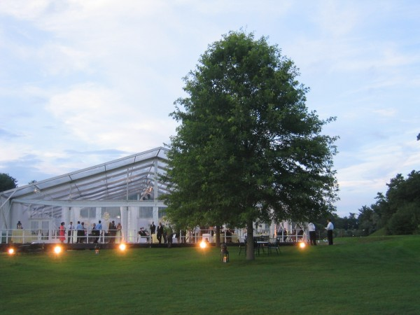 Clear top event structure for wedding in Greenwich, CT, from Leavitt & Parris