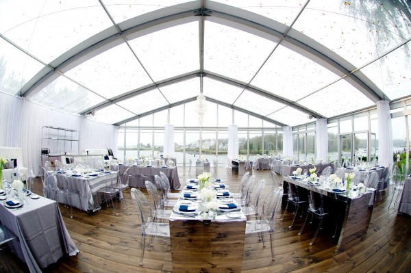 Leavitt & Parris installed a 50-by-50-by-11-foot clear top Losberger easyflex structure for a dramatic wedding in Kennebunkport, Maine