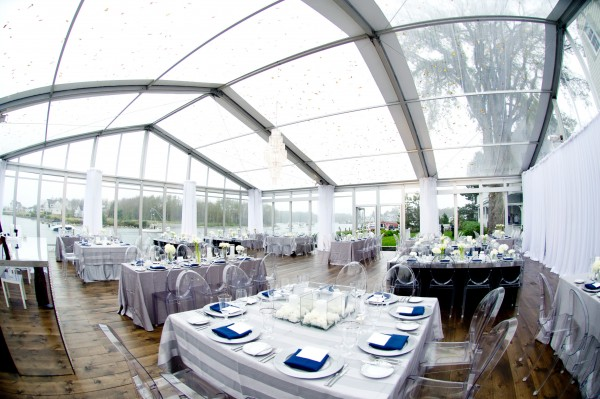 A wedding to remember with a 50-by-50-by-11-foot clear top Losberger easy flex structure, installed by Leavitt & Parris