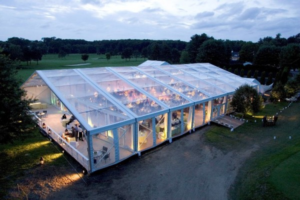 Leavitt and Parris clear top structure built for summer wedding
