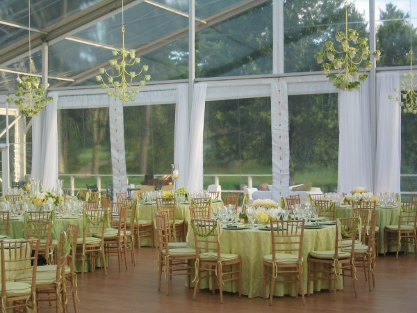 Tables and decor by Leavitt & Parris for a wedding on a golf course