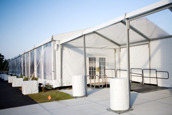 Mercy Hospital grand opening event, tent structure by Leavitt & Parris