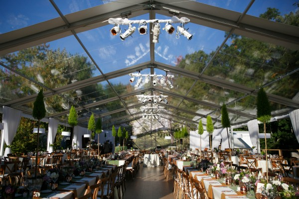 Interior, daytime view of clearspan structure with decor, set up by Leavitt & Parris, for Hidden Pond, Kennebunkport, Maine wedding