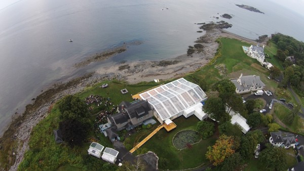 Aerial view of cleartop tent structure for Biddeford Pool, Maine wedding, set up by Leavitt & Parris