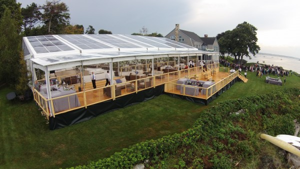 Cleartop tent structure and custom flooring, set up for Biddeford Pool, Maine wedding, view from outside in