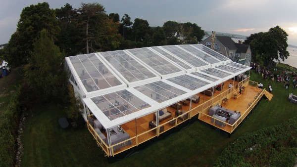 Cleartop tent structure, set up for Biddeford Pool, Maine wedding, view from outside in