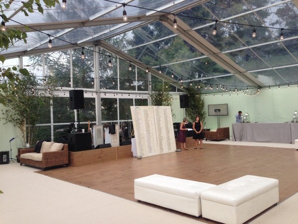 Dance floor set up by Leavitt & Parris for a Biddeford Pool, Maine wedding