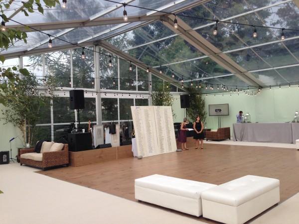 Dance floor set up by Leavitt & Parris for a Biddeford Pool, Maine wedding