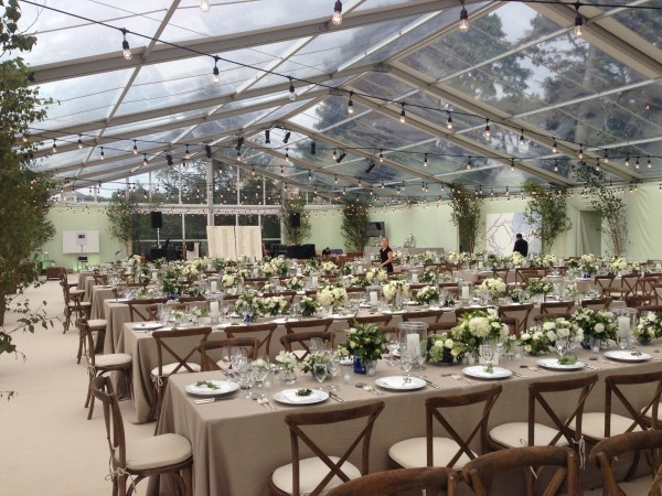 Clear top tent structure and event decor by Leavitt & Parris, for Biddeford Pool, Maine wedding