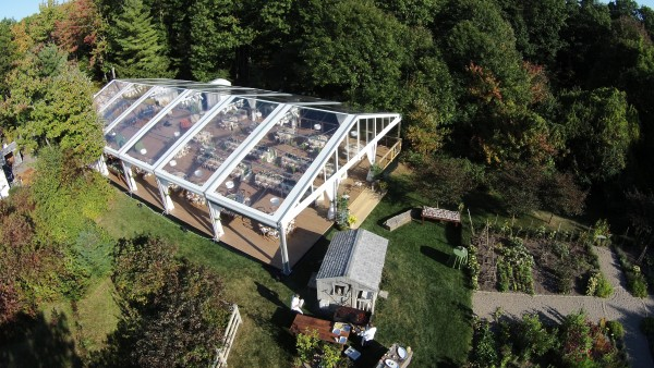 Leavitt & Parris supplied clearspan structure tent and decor set up for Kennebunkport, Maine wedding at Hidden Pond, aerial view