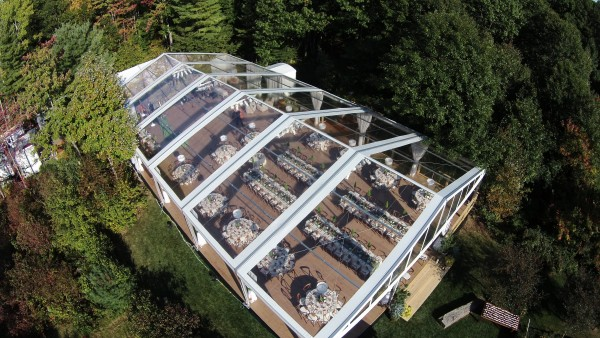 Leavitt & Parris supplied clearspan structure tent and decor set up for Kennebunkport, Maine wedding event at Hidden Pond, aerial view