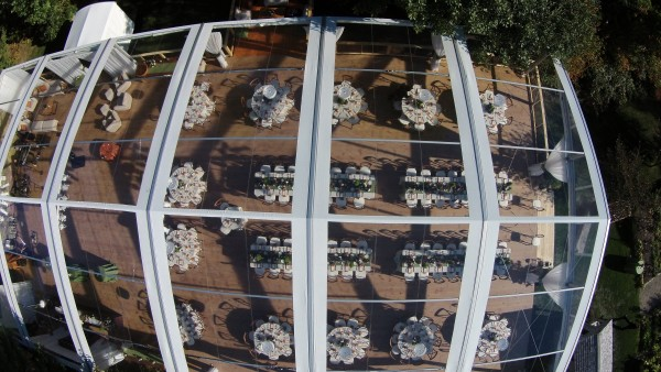 Leavitt & Parris supplied clearspan structure tent set up for Kennebunkport, Maine wedding at Hidden Pond, aerial view