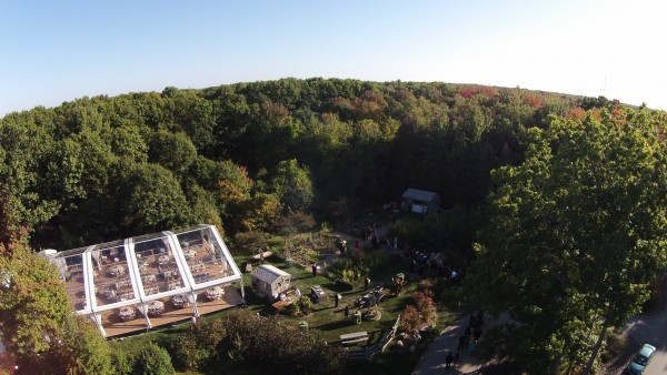 Clear top event structure for wedding at Hidden Pond, Kennebunkport, Maine, aerial view