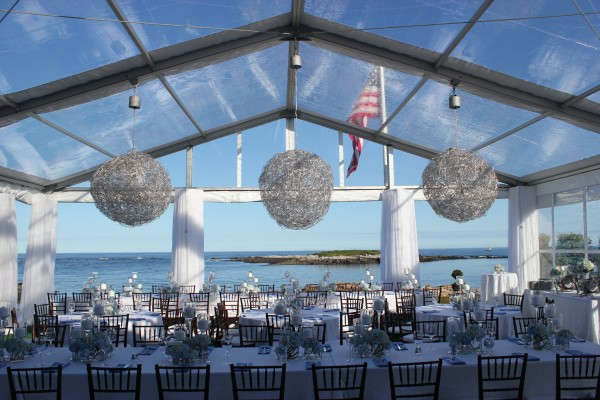 Clear top tent structure, and decor details from Leavitt & Parris, for Kennebunkport, Maine event