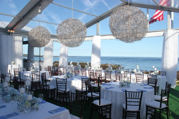 Decor details by Leavitt & Parris for Kennebunkport, Maine party, looking out over ocean