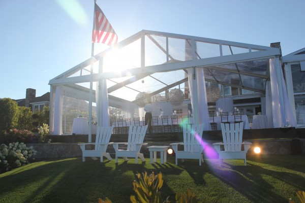 Daytime view of tent structure and decor by Leavitt & Parris for Kennebunkport, Maine party