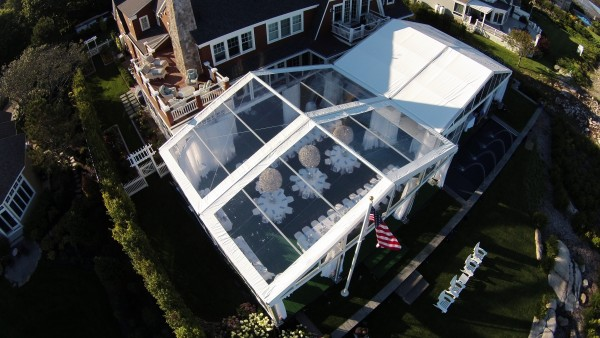 Aerial view of clearspan tent structure for Kennebunkport, Maine party