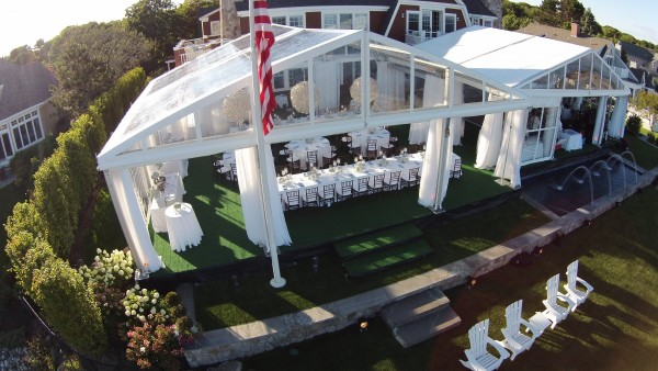 Kennebunkport, Maine party, tent and decor set up by Leavitt & Parris