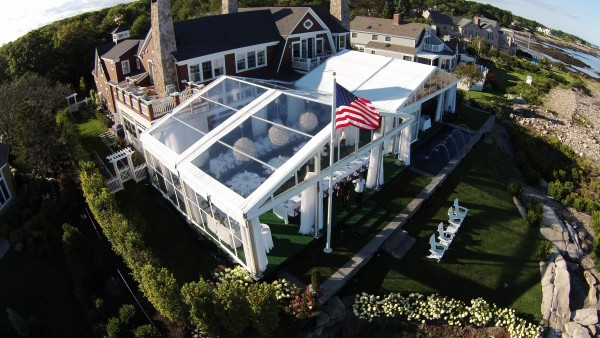 Leavitt & Parris provided tent structures set up for Kennebunkport, Maine party